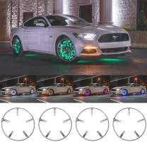 """LEDGlow 4pc 15.5"""" Million Color LED Wheel Ring Accent Lighting Kit- Fits Wheels with 15"""" Brakes - Heavy-Duty & Versatile Design - Waterproof Light Strip - Includes Control Box & Wireless Remote"""