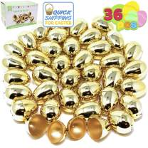 """36 Pieces Shiny Golden Metallic Easter Eggs 2 3/8"""" in Gold Color for Filling Specific Treats, Easter Theme Party Favor, Easter Hunt, Basket Stuffers Fillers, Classroom Prize Supplies by Joyin Toy"""