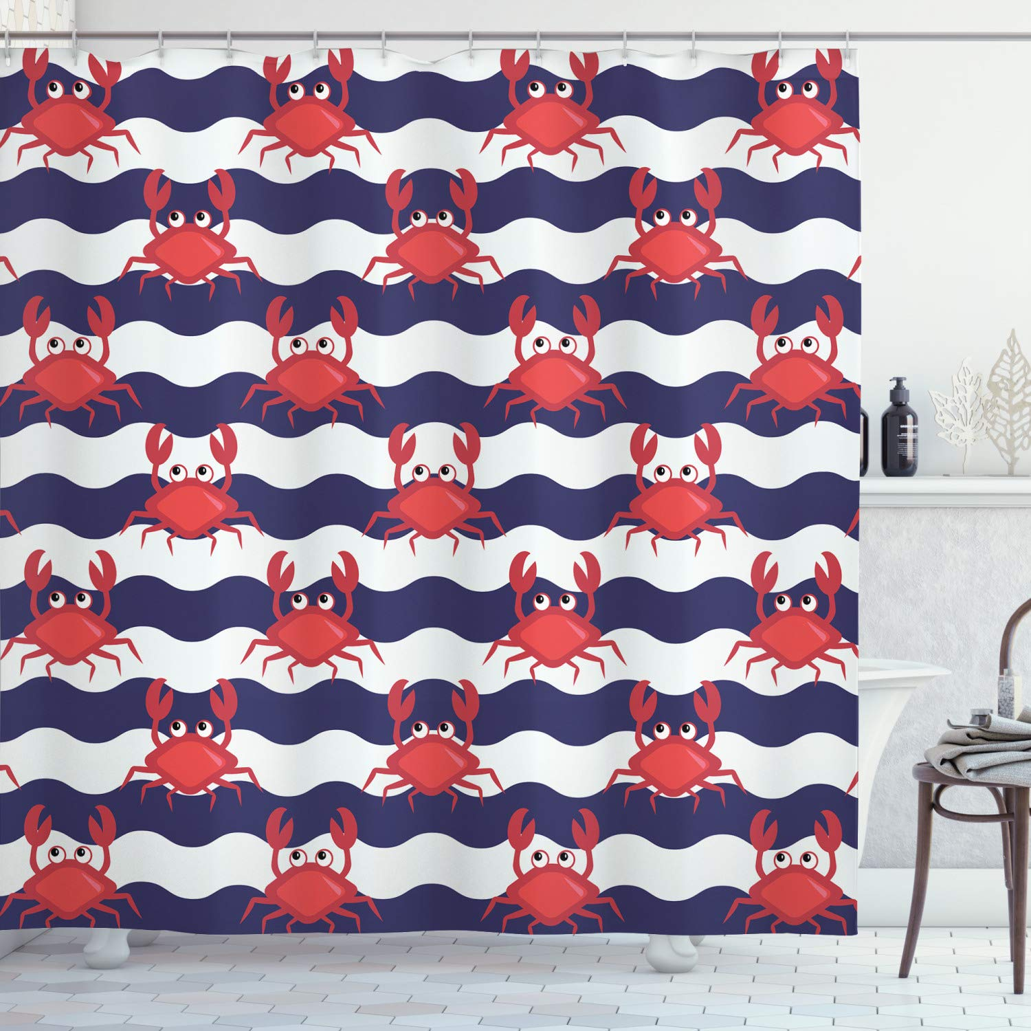"""Ambesonne Crabs Shower Curtain, Nautical Maritime Theme Crabs on Striped Background Illustration Print, Cloth Fabric Bathroom Decor Set with Hooks, 70"""" Long, Red Blue"""