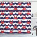 "Ambesonne Crabs Shower Curtain, Nautical Maritime Theme Crabs on Striped Background Illustration Print, Cloth Fabric Bathroom Decor Set with Hooks, 75"" Long, Red Blue"