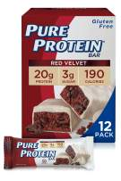 Pure Protein Bars, High Protein, Nutritious Snacks to Support Energy, Low Sugar, Gluten Free, Red Velvet, 1.76 oz, Pack of 12