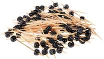 "Black Bamboo Feeling Lucky Dice Skewer - 4"" x 1/2"" x 1/2"" - 1000 count box - Restaurantware"