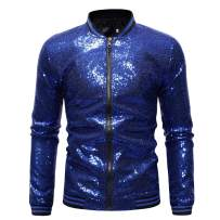 Omoone Men's Zip Up Mermaid Sequin Lightweight Shiny Clubwear Bomber Jacket