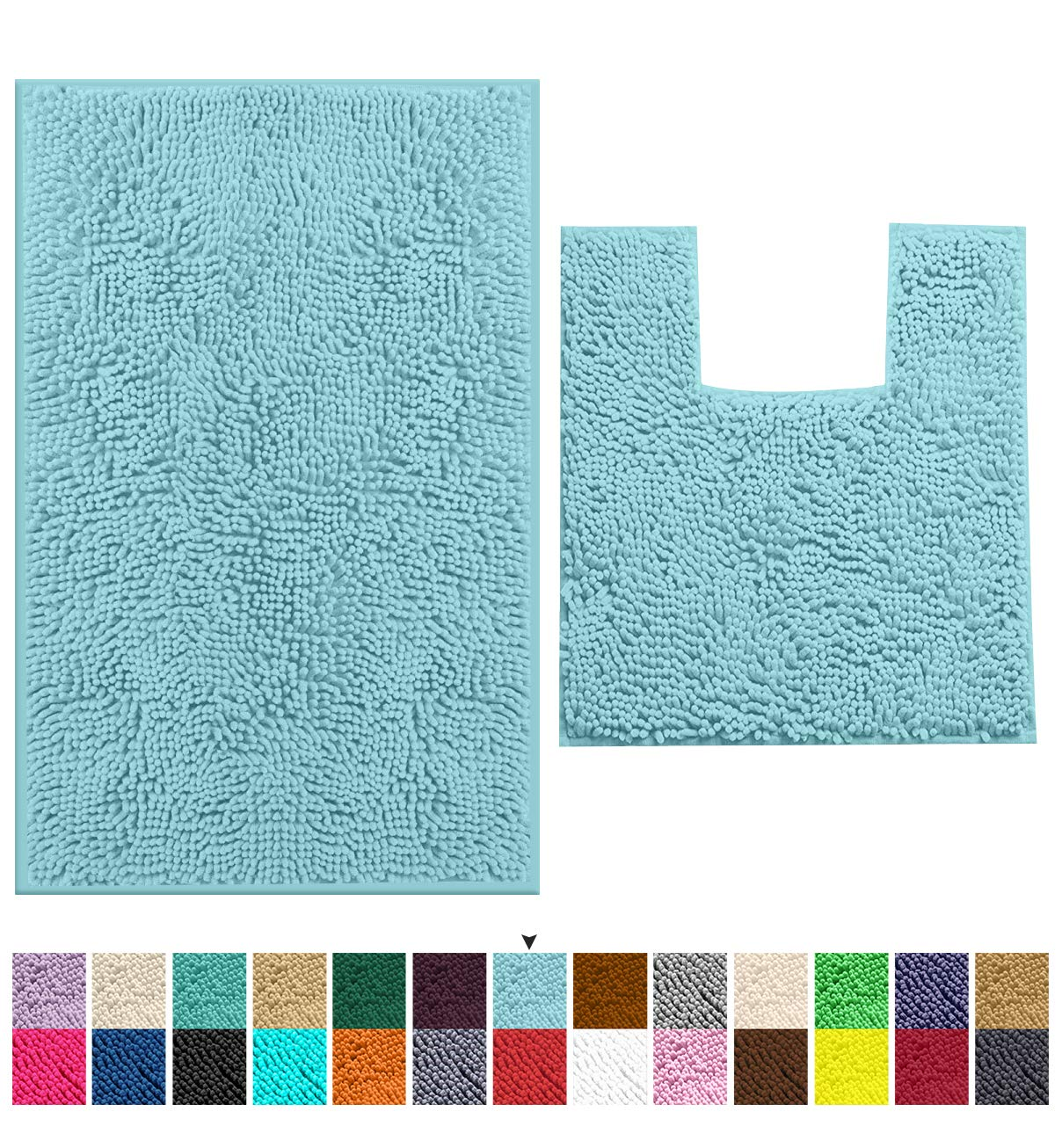 LuxUrux Bathroom Rugs Luxury Chenille 2-Piece Bath Mat Set, Soft Plush Anti-Slip Bath Rug +Toilet Mat.1'' Microfiber Shaggy Carpet, Super Absorbent Machine Washable Mats (Curved Set Medium, Spa Blue)