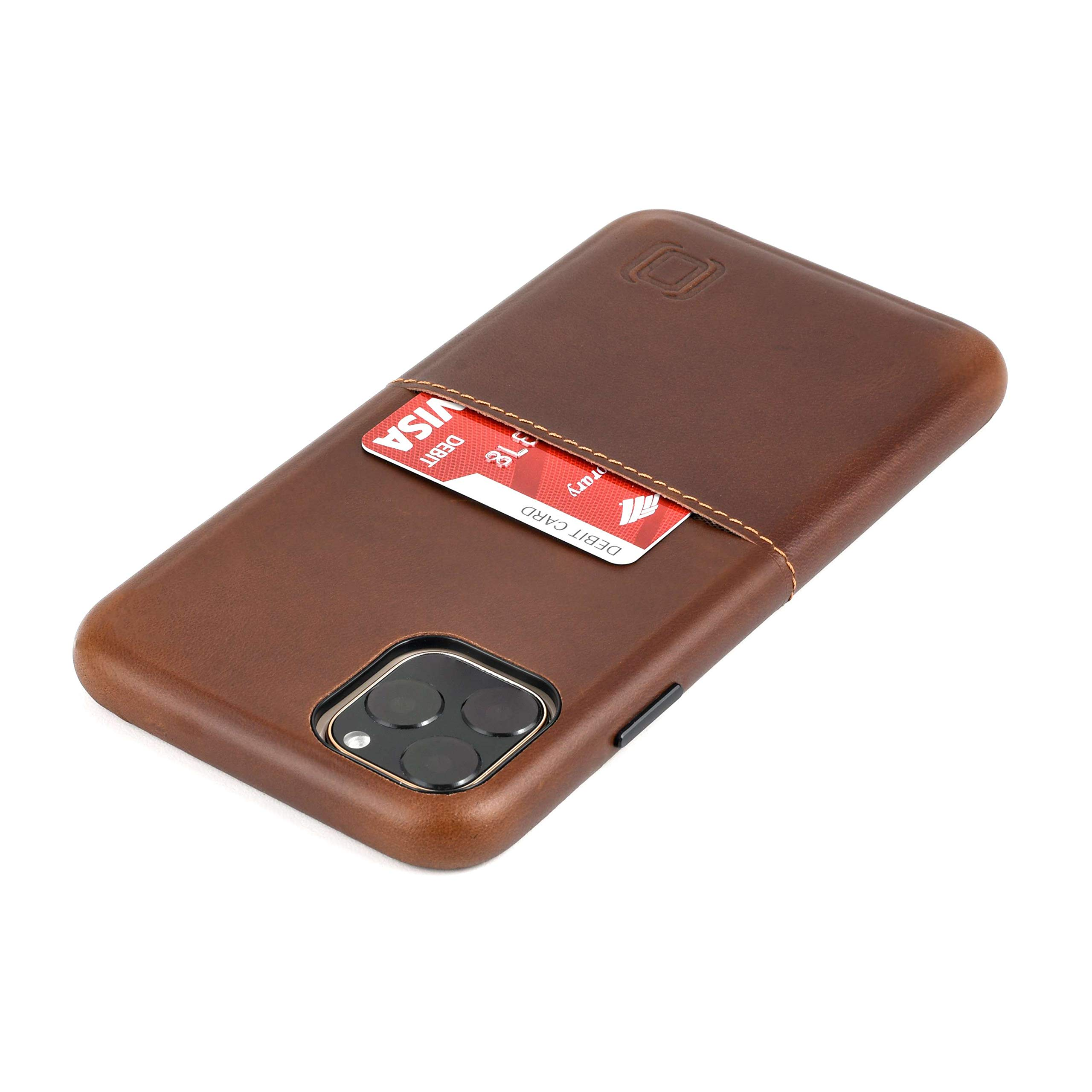 """Dockem iPhone 11 Pro Max Virtuosa M1 Wallet Case (6.5""""): Built-in Metal Plate for Magnetic Mounting with Top Grain Genuine Leather: M-Series [Brown]"""