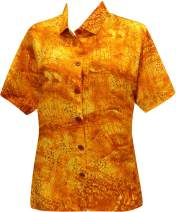 LA LEELA Everyday Essentials Casual Cotton Tropical Hawaiian Womens Shirt N