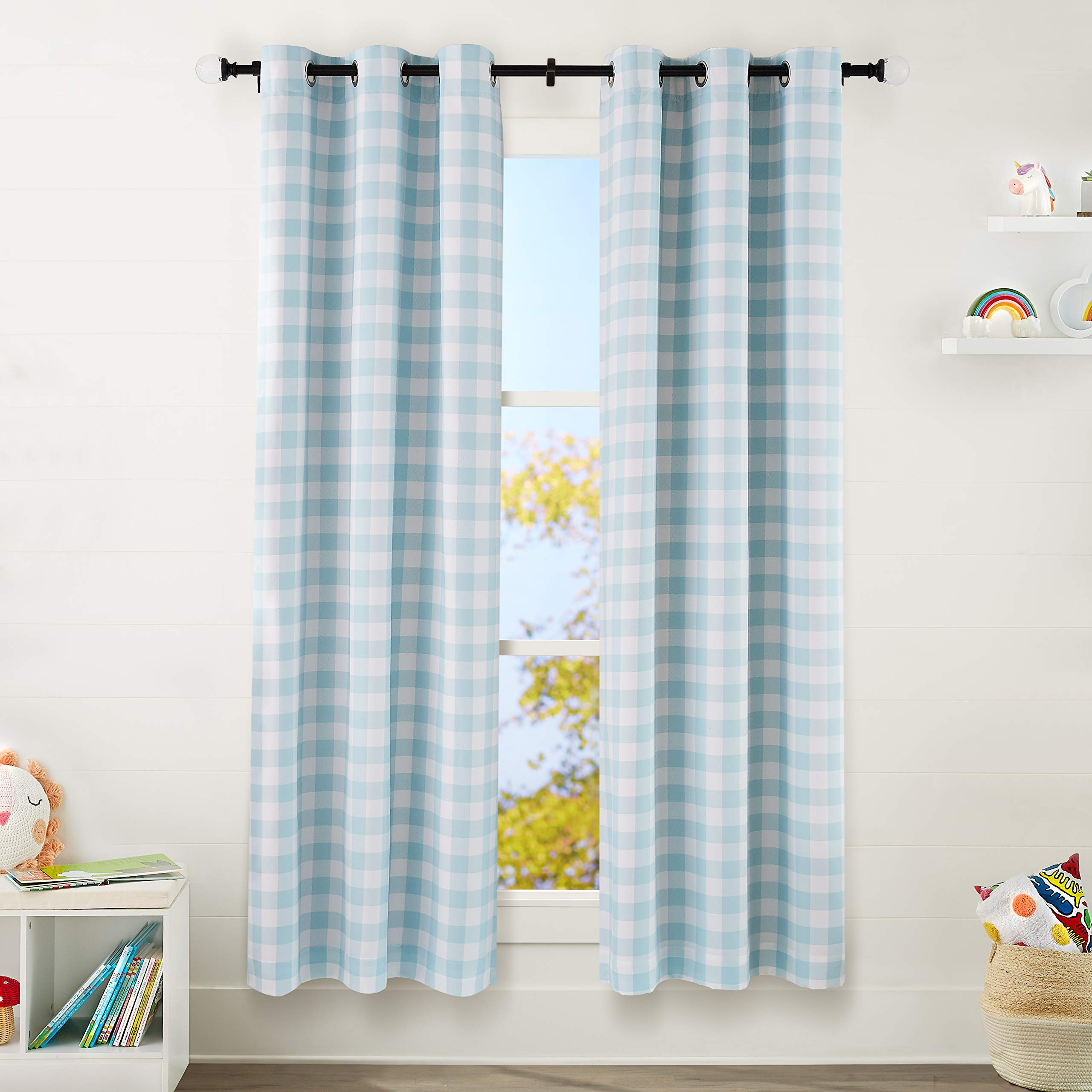 "AmazonBasics Kids Room Darkening Blackout Window Curtain Set with Grommets - 42"" x 84"", Grey Buffalo Plaid"