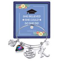 Inspirational Graduation Gifts Compass Bracelet - Inspirational Compass Initial Bangle Bracelet Mantra Quote She Believed She Could So She Did Charm Bracelet Graduation Friendship Gifts for Her