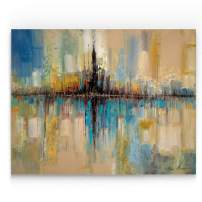 Renditions Gallery Abstract View Landscape 'City Lights Art Wall Décor for Home, Office, Bedroom, Living Room, 36X48