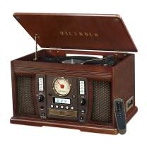 Victrola Aviator 8-in-1 Bluetooth Record Player & Multimedia Center with Built-in Stereo Speakers - 3-Speed Turntable, Vinyl to MP3 Recording   Wireless Music Streaming   Espresso (VTA-750B-ESP)