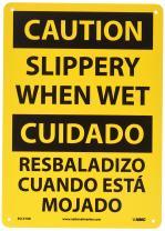 "NMC ESC57RB Bilingual OSHA Sign, Legend ""CAUTION - SLIPPERY WHEN WET"", 10"" Length x 14"" Height, Rigid Plastic, Black On Yellow"