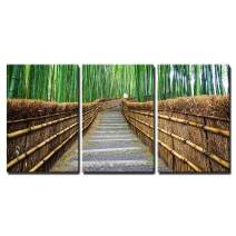 "wall26 - 3 Piece Canvas Wall Art - Path to Bamboo Forest Arashiyama Kyoto Japan - Modern Home Decor Stretched and Framed Ready to Hang - 24""x36""x3 Panels"