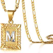 KissYan Initial Letter Pendant Necklace for Mens Womens, 18K Gold Plated Square Capital Monogram Necklace Alhpabets from A-Z Box Figaro Chain Necklace