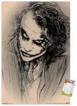 "Trends International DC Comics Movie-The Dark Knight-The Joker-Sketch Mount Wall Poster, 22.375"" x 34"", Poster & Mount Bundle"
