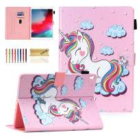 """Dteck Flip Case for iPad Air 10.5-inch 2019 & iPad Pro 10.5"""" 2017 - Soft TPU Back Cover Protective Smart Leather Shockproof Case with Adjustable Stand/Pencil Holder/Auto Wake Sleep (Smile Unicorn)"""