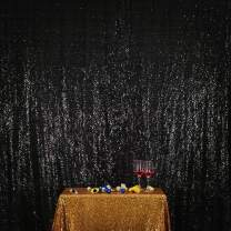 Poise3EHome 5FT x 7FT Sequin Photography Backdrop Curtain for Party Decoration, Black