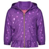 LONDON FOG Girls' Midweight Fleece Lined Jacket, Purple Gold Foil Butterfly, 5/6