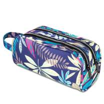 JEMIA Dual Compartments Collection 2 Independent Zipper Chambers with Mesh Pockets, Handle Strap Pencil Case (Blue Leaves, Polyester)