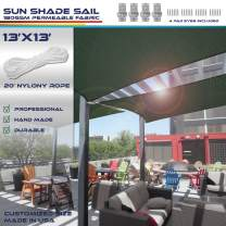 Windscreen4less 13' x 13' Sun Shade Sail Square Canopy in Green with Commercial Grade (3 Year Warranty) Customized Size Included Free 4 Pad Eyess