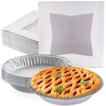 [10 Pack] CUSINIUM White Pie Boxes 10 inch + [10 Pack] Disposable Pie Pans 9 inch - Pie Tins and Boxes Bundle
