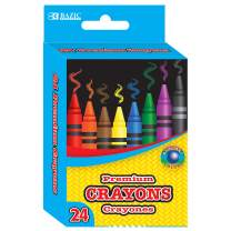 BAZIC 24 Counts Premium Color Crayons, Coloring Set, Assorted Colors Washable, School Art Gift for Kids Teens