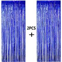 ONUPGO 2 Pack 3.28 ft x 9.8 ft Blue Foil Curtains Metallic Tinsel Fringe Curtain Photo Booth Props Backdrop Curtain Perfect for Birthday Wedding Baby Shower Christmas Holiday Party Decorations