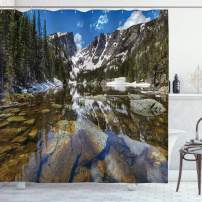 """Ambesonne Landscape Shower Curtain, Dream Mirroring Lake at The Mountain Park in West America River Snow Print, Cloth Fabric Bathroom Decor Set with Hooks, 75"""" Long, Brown Blue"""