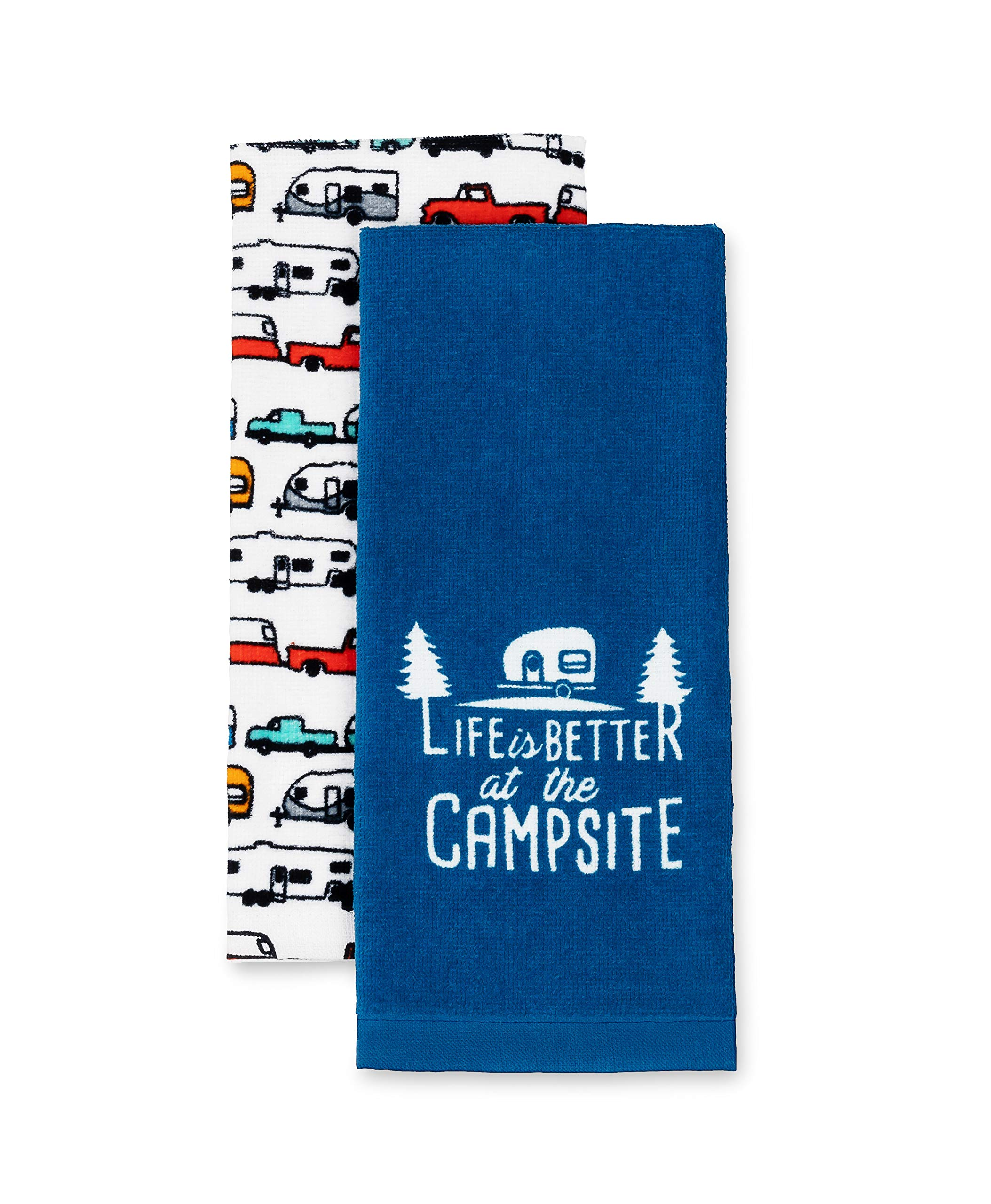 Camco Life is Better at The Campsite RV Dish Towel Set - Perfect for Drying Hands and Dishes - Includes a Set of (2) Towels - 27-Inches x 16-1/2-Inches (53301)