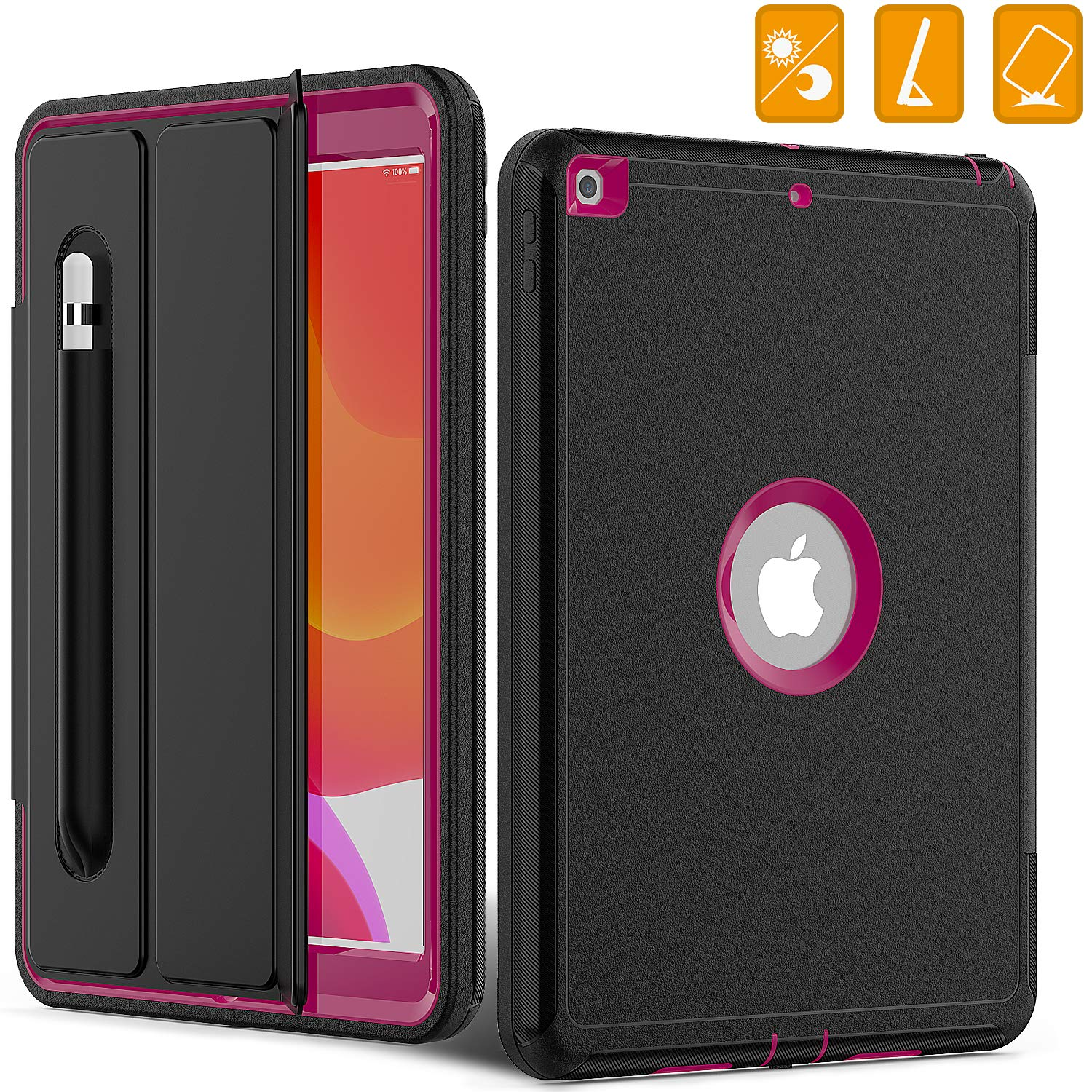iPad 7th Generation 10.2 Cover ,iPad 10.2 2019 Case, [Smart Auto Sleep Wake Cover ],Heavy Duty Shockproof Rugged Protective Case with Stand Pencil Holder for iPad 7th Generation10.2 (Rose red)