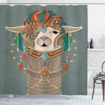 """Ambesonne Llama Shower Curtain, Colorful Headwear Wearing Llama with Accessories Earrings Necklace Abstract Animal, Cloth Fabric Bathroom Decor Set with Hooks, 75"""" Long, Gray Green"""