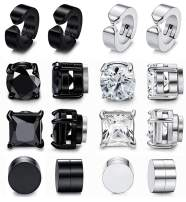 Adramata 8 Pairs Magnetic Stud Earrings for Men Women Stainless Steel Black CZ Magnet Non-piercing Clip On Inlaid Earrings Set 6-10mm