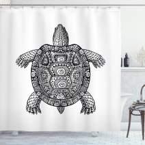 "Ambesonne Turtle Shower Curtain, Tribal Patterns on Turtle Illustration Monochrome Animal Themed Tortoise Print, Cloth Fabric Bathroom Decor Set with Hooks, 70"" Long, White Black"