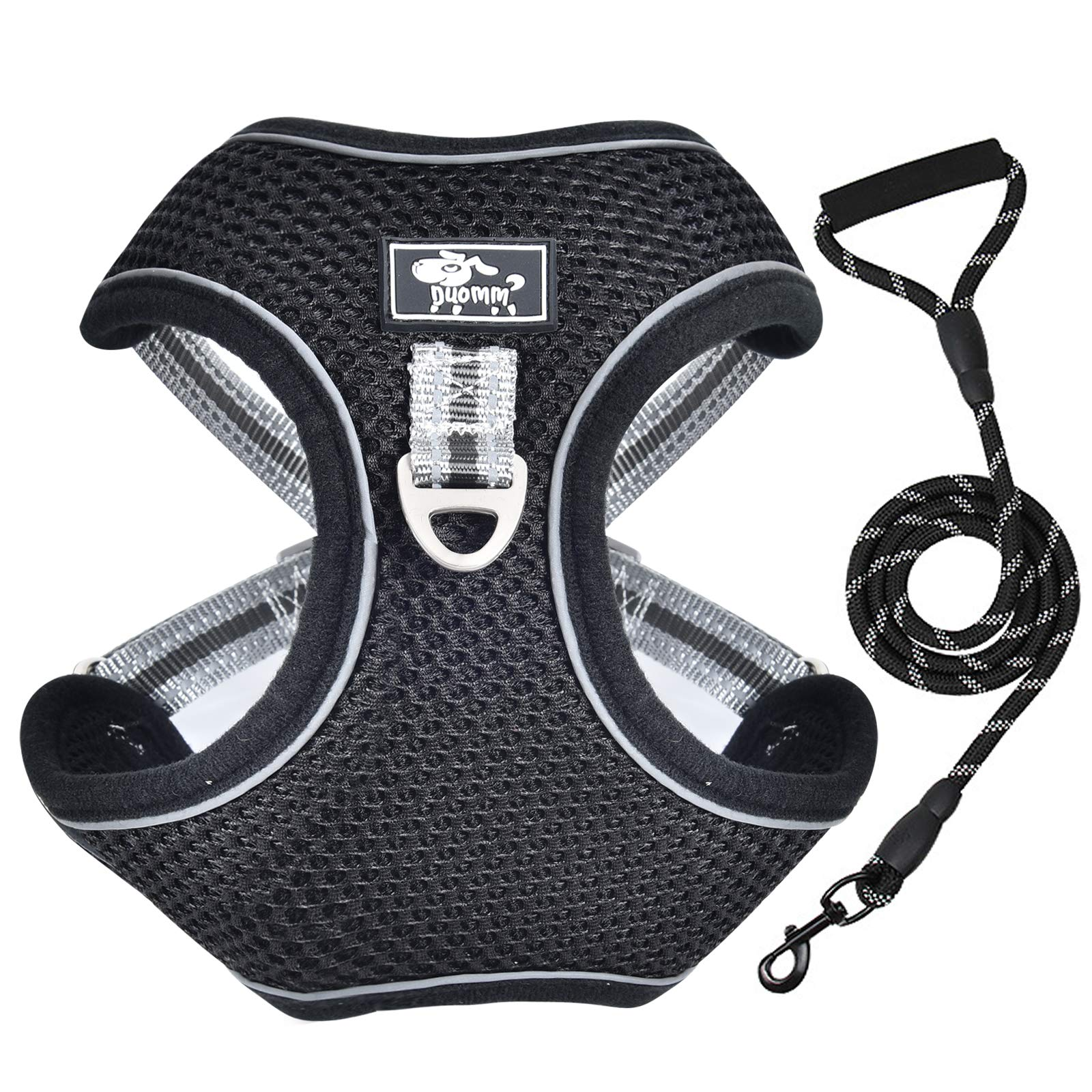 Vetasac Harness for Large Dogs No Pull Adjustable Reflective Breathable Mesh Dog Harness with Handle for Outdoor Training XB001 (XL, Black)