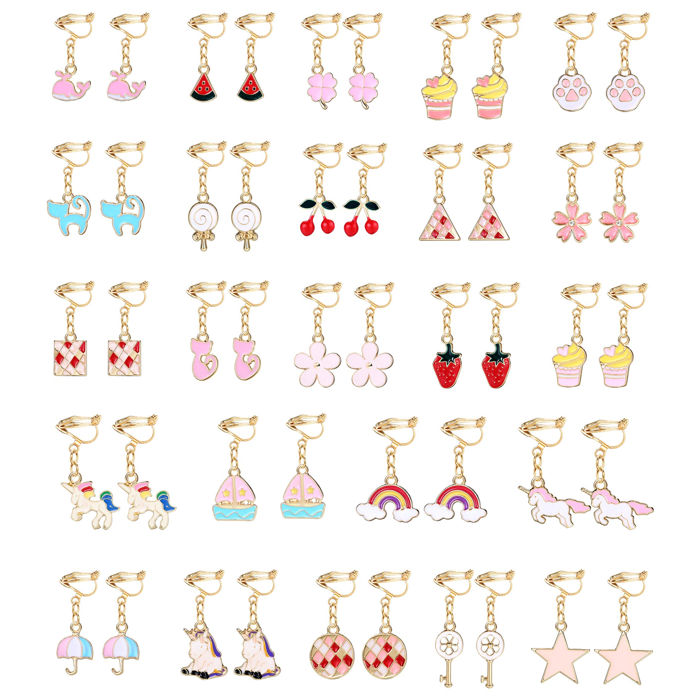 Hanpabum 24 Pairs Pink Clip On Earrings for Girls Women Unicorn Rainbow Multiple Cute Animals Fruits