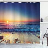 "Lunarable Seascape Shower Curtain, Sunset View Beach Shore with Waves Surfing Theme Water Sports Rocks Boats Scenery, Cloth Fabric Bathroom Decor Set with Hooks, 75"" Long, Orange Blue"