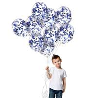 Treasures Gifted Blue Confetti Balloons 12 Inch Latex Sky Star Confetti Balloon Baby Shower Decorations 12 Pack for Birthday Graduation Party Supplies