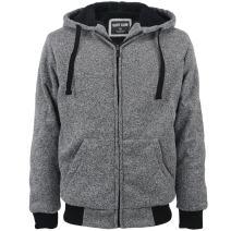 Heavyweight 1.8 LB Full-Zip Sherpa Lined Fleece Hoodies For Men Solid Jackets 4XL Light Grey