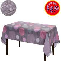 JIATER Christmas Tablecloth Spillproof Fabric Kitchen Outdoor Picnic Camping Holiday Table Cloth for Rectangle Tables 60 x 84 Inch (Wave Point Pink)
