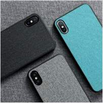 Cloth Texture Case, Fabric Case, Luxury Skin Cloth Fabric Cover for iPhone 11 Pro Max XR XS X 5 5S SE 6 6S 7 8 Plus Soft TPU Edge Anti-Knock Protection (iPhone 5/5s/se,Black)
