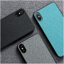 Cloth Texture Case, Fabric Case, Luxury Skin Cloth Fabric Cover for iPhone 11 Pro Max XR XS X 5 5S SE 6 6S 7 8 Plus Soft TPU Edge Anti-Knock Protection (iPhone 7 Plus/8 Plus,Sky Blue)