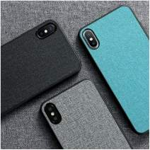 Cloth Texture Case, Fabric Case, Luxury Skin Cloth Fabric Cover for iPhone 11 Pro Max XR XS X 5 5S SE 6 6S 7 8 Plus Soft TPU Edge Anti-Knock Protection (iPhone 11,Green)