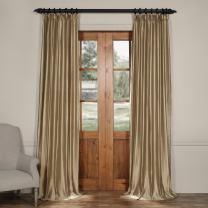 HPD Half Price Drapes CTSK-161007-96 Cotton Silk Curtain (1 Panel), 50 X 96, Silver Taupe