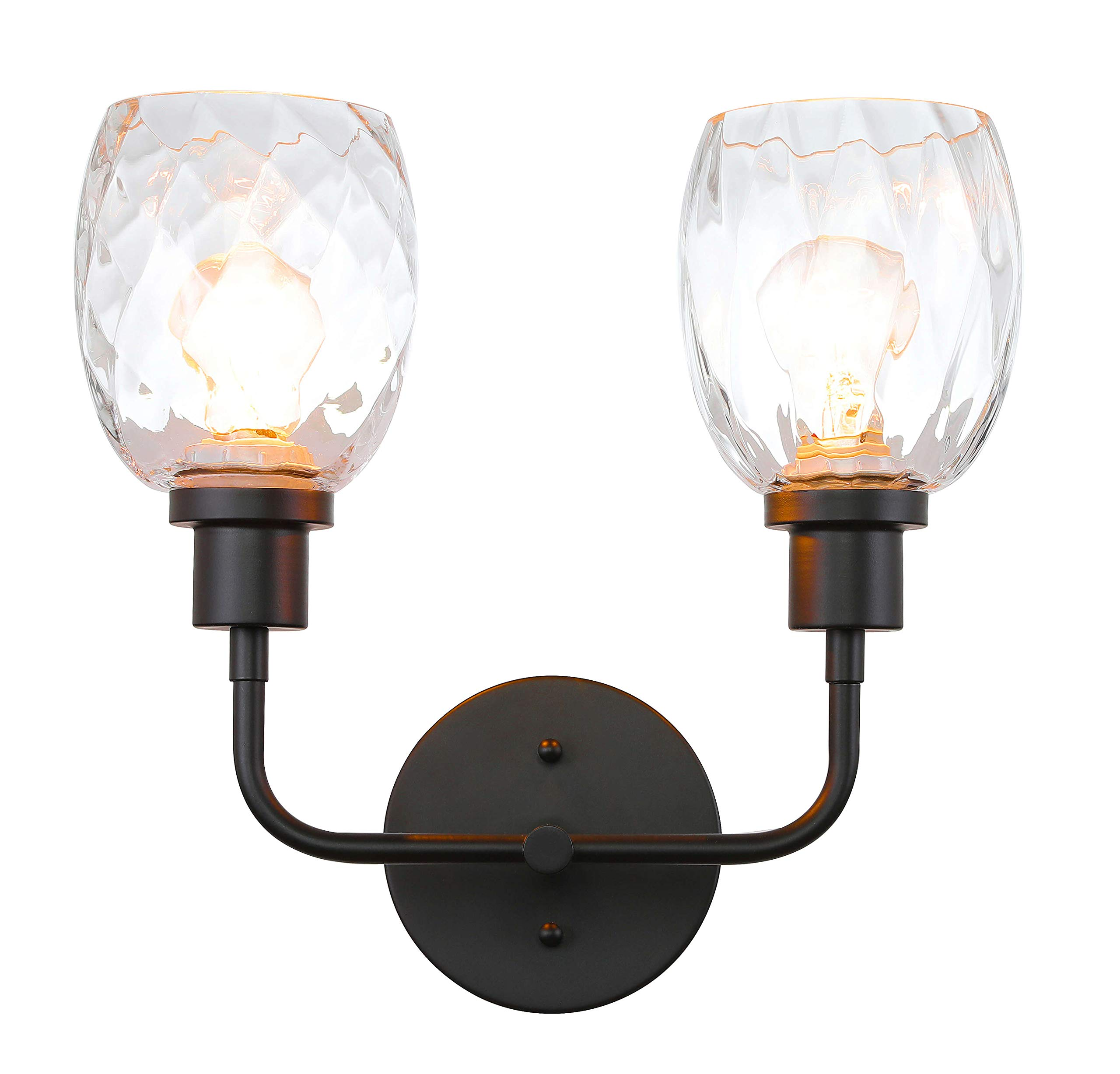XiNBEi Lighting Wall Sconce, 2 Light Bathroom Vanity Wall Light with Clear Glass, Matte Black Finish XB-W1210-2-MBK