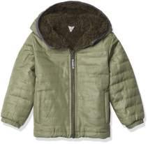 London Fog Boys' Little Fleece-to-Poly Jacket, Green reversible, M/5-6