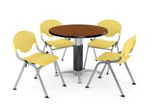"OFM Core Collection Breakroom Bundle, 36"" Round Metal Mesh Base Multi-purpose Table in Cherry, 4 Rico Stacking Chairs in Lemon Yellow"