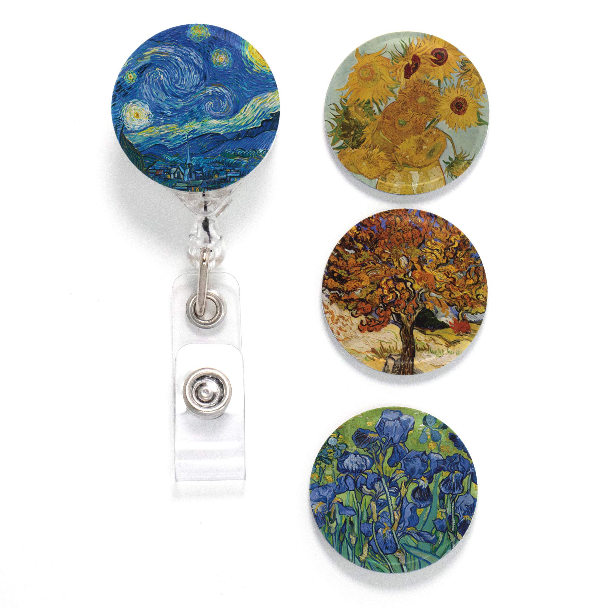 Buttonsmith Van Gogh Starry Night Tinker Reel Retractable Badge Reel - with Pin Back and Extra-Long 36 inch Standard Duty Cord - Made in The USA