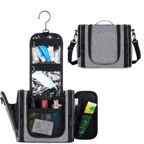 WANDF Expandable Toiletry Bag Dopp Kit TSA Approved Bottles Water Resistant (Grey-Cationic)