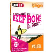 LonoLife Thai Curry Beef Bone Broth Powder with 10g Protein, Paleo and Keto Friendly, Stick Packs, 24 Count