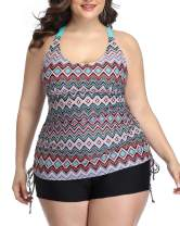 Yonique Womens Plus Size Tankini Swimsuit Geometric Bathing Suit Top with Shorts Athletic 2 Piece Swimwear