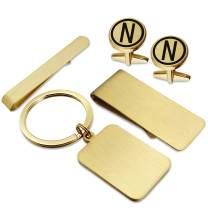 HAWSON Gold Color Cufflinks-Tie Bar Clip-Money Clip-Keychain Set for Men-A-Z Alphabet